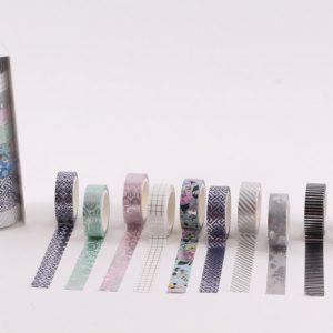 10 יח וושי טייפ כסף בקופסא