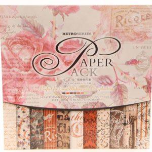 24 דפי קארדסטוק פרחים אדום/ורוד