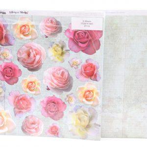 דפים מעוצבים דו צדדיים נייר עם טקסטורה דמוי בד קנווס בסיס רשומון ורשומון פרחים