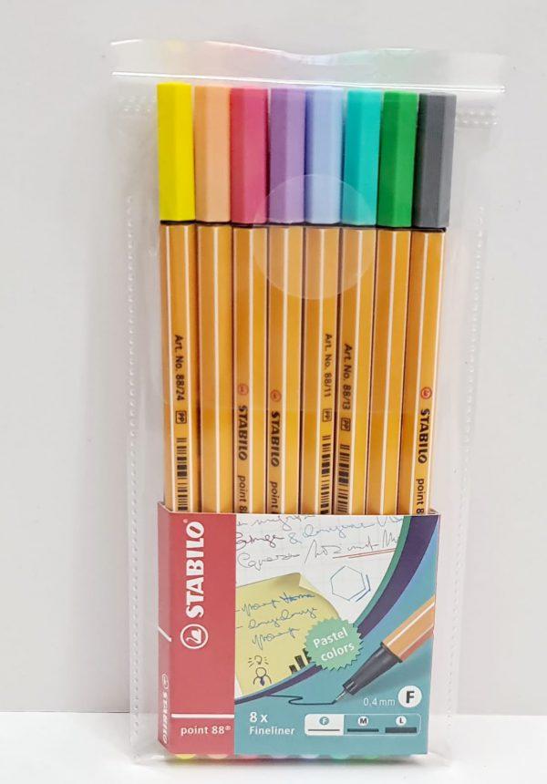 שמיניית עטים צבעוניים STABILO