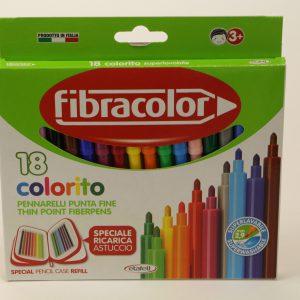טוש 18 צבעים איכותי Fibracolor