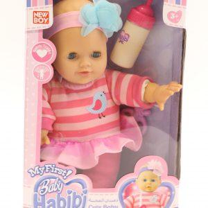 בובת תינוק עם בקבוק בקופסא