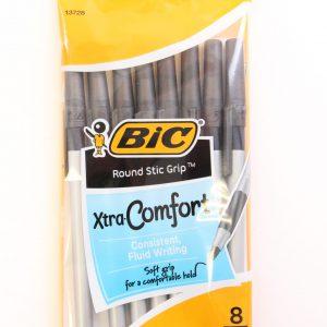 מארז 8 עטים ראונדסטיק גריפ שחור - BIC