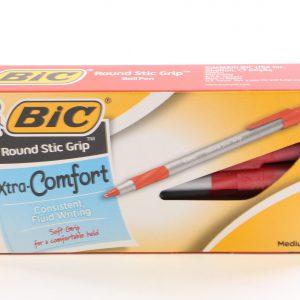 מארז 12 עטים  ראונדסטיק גריפ אדום - BIC