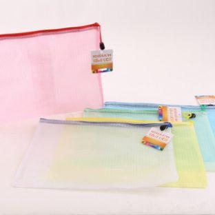 תיקיית רוכסן צבעוני שקוף A4
