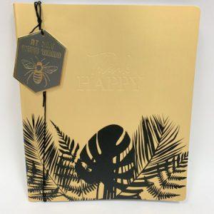 מחברת דף חלק לעיצוב זהב שחור עלים