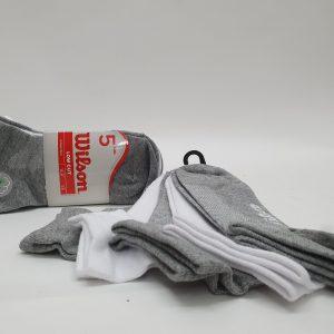 חמישיית גרביים קרסוליות אפור לבן