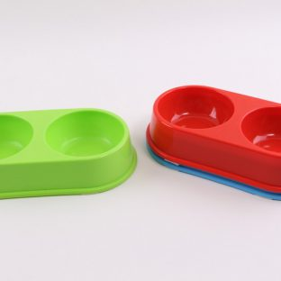 קערת אוכל פלסטיק כפולה לחיות