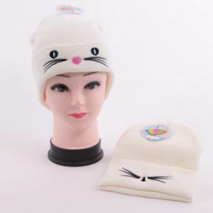 כובע צמר לבן חתול