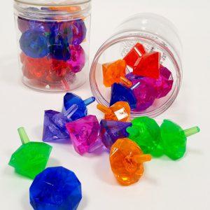 18 סביבוני יהלום צבעוניים בקופסא שקופה