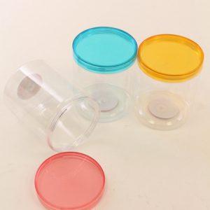 שלישיית קופסאות פלסטיק עגולה צבעונית שקופה