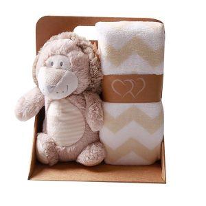 שמיכת תינוק עם בובה מתוקה בקופסא - נושנוש