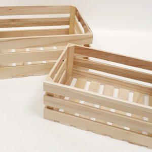 זוג ארגזי אחסון מלבן עץ פסים