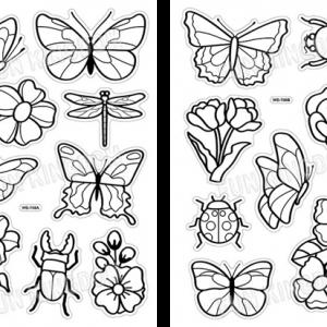 מדבקות חלון - פרפרים ופרחים