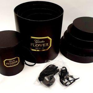 סט 5 קופסאות מתנה עגול שחור זהב
