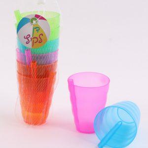 שישיית כוסות קש צבעוניות