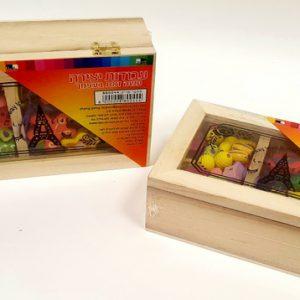 חרוזי עץ צורות בקופסאת עץ