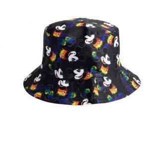 כובע שוליים לילדים - מיקי מאוס צבעי קשת שחור