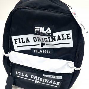 תיק בית ספר - FILA - שחור לבן מבריק כתוביות