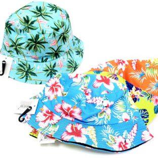 כובע שוליים לילדים - פרחוני צבעוני