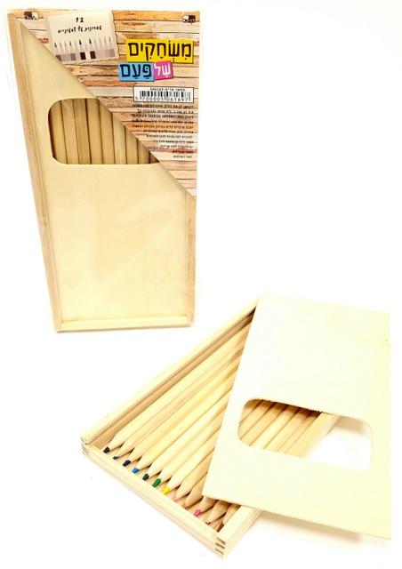 מארז עפרונות עץ טבעי צבעוניים בקופסת עץ