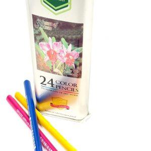 מארז עפרונות צבעוניים בקופסת פח משולשת