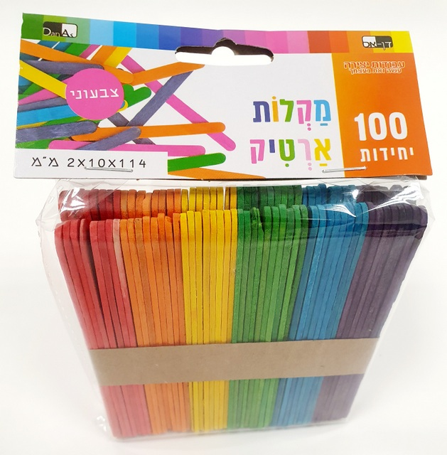 100 מקלות ארטיק צבעוני